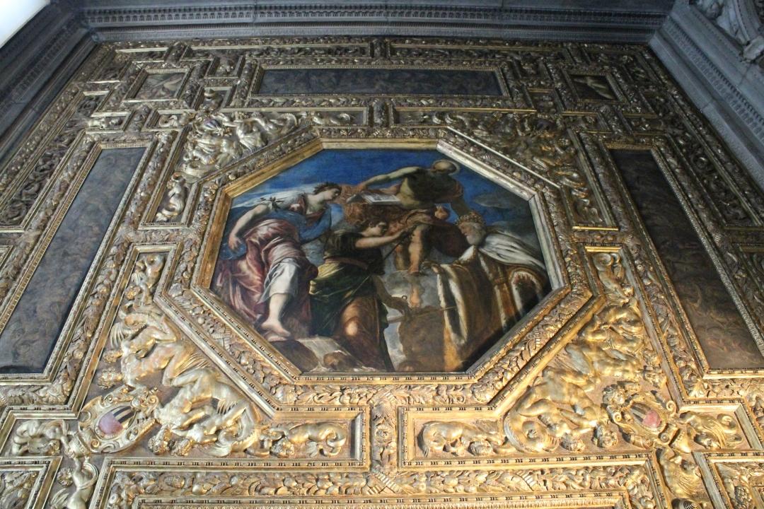 Dogele GErolamo Priuli primind sabia si balanta Justitiei , Jacopo Tintoretto