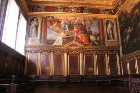 Sebastiano Venier multumind Mantuitorului dupa batalia de la Lepanto de Paolo Veronese, Palazzo Ducale, Venetia