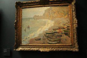 """Claude Monet, """"Plage et porte d'Amont à Etretat"""""""