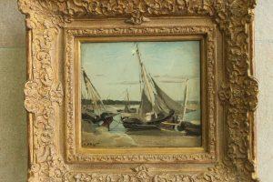 """Camille Corot, """"Trouville, bateaux de pêche échoués dans le chenal"""""""