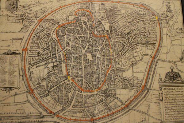 Cele doua centuri fortificate pe la 1500, Bruxelles, harta