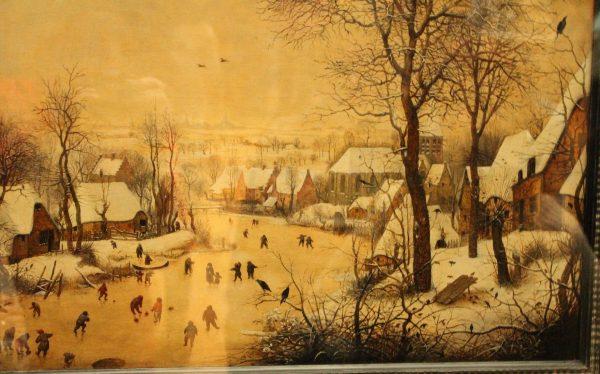 """Peisaj de iarna cu patinatori si capcana de pasari"", Pieter Bruegel"