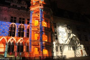 Château de Blois, Valea Loarei, in cadrul unui spectacol de sunet si lumina (portretul Catherinei de Medici)