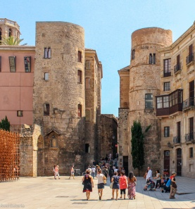 Cele două turnuri din cele 78 ale zidului roman de aparare, Barcelona