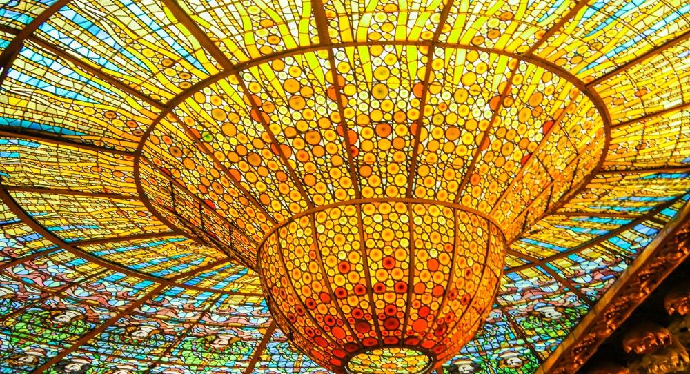 Palau de la Musica Catalana, stain glasses, Barcelona