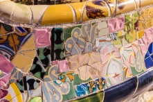 Esplanada, trencadis, Park Guell, Barcelona
