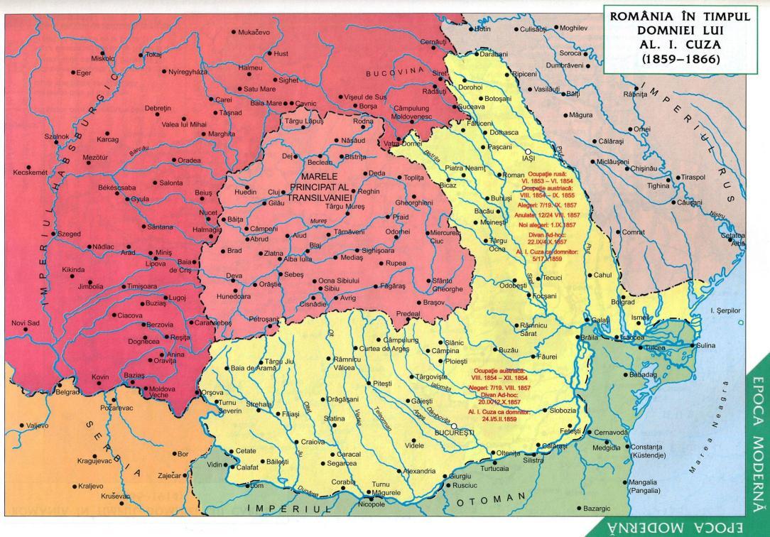 Harta Principatelor Unite Romane 1859-1866