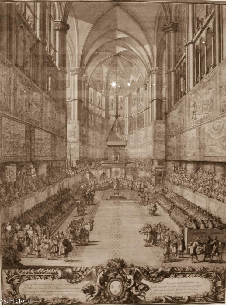 Gravure représentant les festivités organisées pour le sacre de Louis XV, le 25 octobre 1722 à Reims