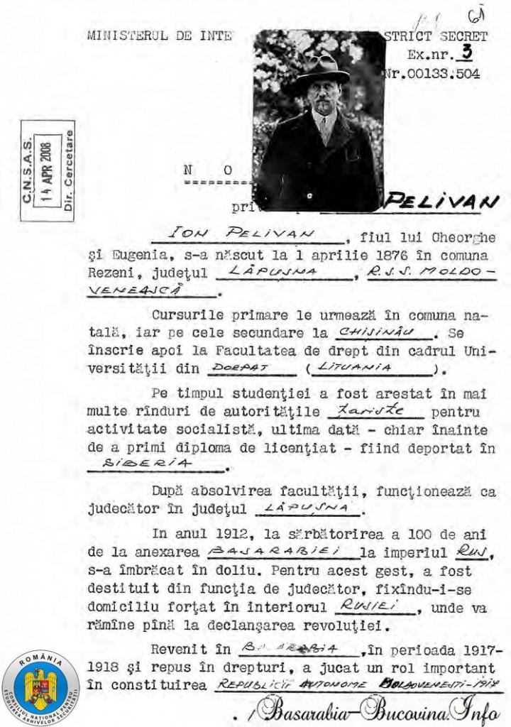 Ion Pelivan, fila din dosarul securitatii